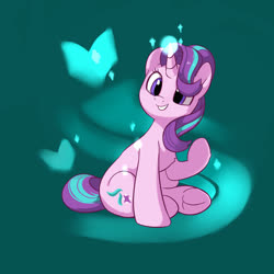 Size: 2000x2000 | Tagged: safe, artist:drtuo4, starlight glimmer, butterfly, pony, unicorn, cute, female, frog (hoof), glimmerbetes, glowing horn, green background, hoofbutt, horn, magic, mare, simple background, sitting, solo, underhoof, wrong eye color
