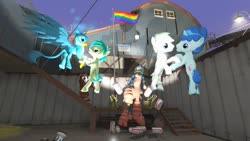 Size: 1280x720 | Tagged: safe, artist:horsesplease, double diamond, gallus, party favor, sandbar, trouble shoes, mudsdale, 3d, budweiser, drunk, drunken shoes, gallbar, gay, gay pride flag, gmod, male, partydiamond, pokémon, pride, pride flag, shipping, super gay