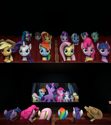 Size: 1280x1441 | Tagged: safe, artist:lance-pizon, edit, edited screencap, screencap, applejack, bon bon, dj pon-3, fluttershy, lyra heartstrings, octavia melody, pinkie pie, rainbow dash, rarity, spike, sunset shimmer, sweetie drops, twilight sparkle, vinyl scratch, alicorn, earth pony, pegasus, unicorn, my little pony: the movie, 3d, cinema, food, mane seven, mane six, popcorn, source filmmaker, twilight sparkle (alicorn)