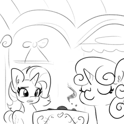 Size: 3707x3707 | Tagged: safe, artist:tjpones, rarity, sweetie belle, pony, unicorn, sisterhooves social, belle sisters, bread, cooking, duo, female, food, grayscale, liquid toast, mare, monochrome, scene interpretation, siblings, simple background, sisters, sweetie belle can't cook, sweetie fail, toast, white background