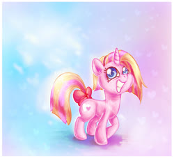Size: 1140x1035 | Tagged: safe, artist:avui, oc, oc only, oc:freckles, unicorn, bow, pink, smiling, solo, tail bow