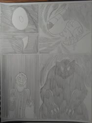 Size: 1944x2592   Tagged: safe, artist:princebluemoon3, oc, oc:rainbow tashie, oc:tommy the human, bear, human, ursa, ursa minor, comic:the chaos within us, black and white, canterlot, canterlot castle, clothes, comic, commissioner:bigonionbean, dialogue, drawing, dream, emotional, female, grayscale, horrified, human oc, monochrome, night, nightmare, sad, scared, traditional art, transformation, writer:bigonionbean