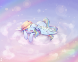 Size: 2500x2000 | Tagged: safe, artist:zefirka, rainbow dash, pegasus, cloud, cute, dashabetes, ear fluff, eyes closed, high res, lying on a cloud, on a cloud, prone, rainbow, sleeping, sleeping on cloud, solo, spread wings, wings