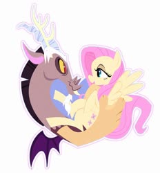 Size: 900x968 | Tagged: safe, artist:darkwingsnark, discord, fluttershy, draconequus, pegasus, pony, bust, discoshy, eye contact, female, heart shaped, holding, holding a pony, hooves to the chest, looking at each other, male, mare, outline, profile, shipping, simple background, spread wings, straight, white background, white outline, wings