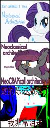 Size: 867x2223   Tagged: safe, artist:moonatik, rarity, oc, oc:anneal, bat pony, unicorn, angry, bat pony oc, chinese, female, gift art, mare, meme, ponytail, vulgar description