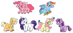 Size: 2020x936 | Tagged: safe, artist:pegasisterforever15, applejack, fluttershy, pinkie pie, rainbow dash, rarity, twilight sparkle, butterfly, earth pony, pegasus, pony, unicorn, applejack (g5), earth pony twilight, female, fluttershy (g5), flying, g5, g5 concept leak style, hooves, jewelry, leonine tail, mane six, mane six (g5), mare, pegasus pinkie pie, pinkie pie (g5), race swap, rainbow dash (g5), rarity (g5), redesign, simple background, smiling, spread wings, tiara, transparent background, twilight sparkle (g5), unicorn fluttershy, wings