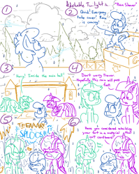 Size: 4779x6013 | Tagged: safe, artist:adorkabletwilightandfriends, lyra heartstrings, twilight sparkle, oc, oc:trevor, alicorn, earth pony, pony, unicorn, comic:adorkable twilight and friends, adorkable, adorkable twilight, bending, box, box fort, butt, cardboard, cardboard box, cardboard box twilight, cloud, comic, crying, cute, dork, female, filly, fort trevor, get low, giggling, humor, hurdle, jumping, laughing, plot, pony in a box, rain, soaked, storm, tongue out, twilight sparkle (alicorn), urgency, wet, wet mane, wind