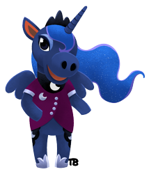 Size: 1317x1541 | Tagged: safe, artist:thrimby, princess luna, alicorn, animal crossing, both cutie marks, clothes, female, mare, simple background, solo, standing, transparent background