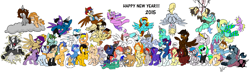Size: 6680x2000 | Tagged: safe, artist:lucas_gaxiola, derpy hooves, princess celestia, oc, oc:charmed clover, oc:dusty katt, oc:ilovekimpossiblealot, oc:mandopony, oc:mic the microphone, oc:the brony chef, oc:usagi, alicorn, earth pony, pegasus, pony, rabbit, unicorn, princess molestia, alicorn oc, animal, blushing, body pillow, bridal carry, carrying, choker, clothes, cloud, clover, eyes closed, female, flower, flower in mouth, flying, four leaf clover, frown, grin, group, happy new year 2015, hat, jewelry, leonine tail, lightning, looking down, male, mare, mouth hold, necklace, on a cloud, one eye closed, party hat, ponified, propeller hat, raised hoof, sibsy, smiling, socks, stallion, striped socks, sunglasses, tara strong, tongue out, uniform, wink, wonderbolt trainee uniform