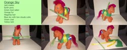 Size: 4112x1612 | Tagged: safe, artist:chili19, oc, oc only, oc:orange sky, earth pony, pony, braid, clothes, crossover, custom, earth pony oc, irl, lightsaber, male, mouth hold, photo, stallion, star wars, toy, weapon