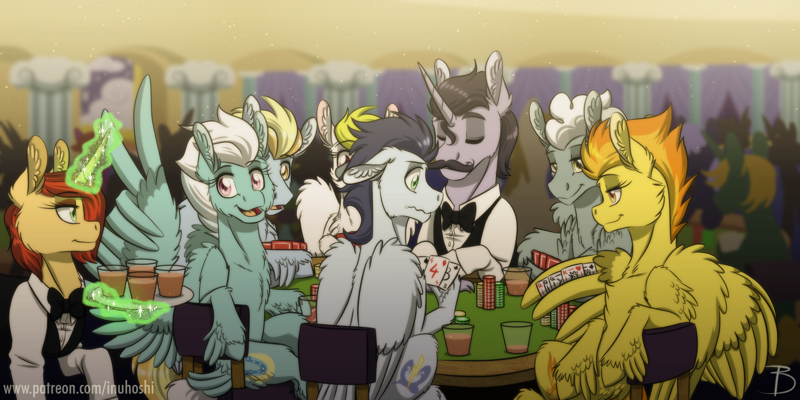 Size: 1800x900 | Tagged: safe, artist:inuhoshi-to-darkpen, fleetfoot, lightning streak, silver lining, silver zoom, soarin', spitfire, surprise, pegasus, pony, unicorn, card, card game, casino, chest fluff, chips, clothes, drink, ear fluff, eyes closed, featured image, female, fluffy, food, generic pony, glass, las pegasus, las vegas, levitation, magic, male, mare, nervous, open mouth, playing, poker, stallion, telekinesis, wing fluff, wing hands, wings, wonderbolts