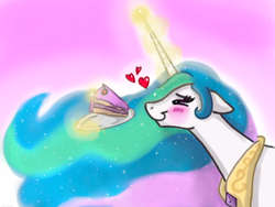 Size: 2000x1500 | Tagged: safe, artist:srebrnastal, princess celestia, alicorn, pony, bedroom eyes, blushing, cake, cakelestia, cargo ship, eyes on the prize, female, floating heart, floppy ears, food, glowing horn, heart, heart eyes, holiday, horn, levitation, love, magic, mare, meme, otp, peytral, pink background, plate, profile, shipping, simple background, smiling, telekinesis, valentine's day, wingding eyes
