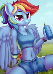 Size: 1660x2290 | Tagged: safe, artist:anti1mozg, rainbow dash, pegasus, pony, anthro, belly button, clothes, ear fluff, female, looking at you, mare, midriff, nos energy drink, shoulder fluff, sitting, smiling, solo, sports bra, wings