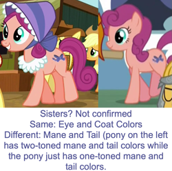 Size: 945x937 | Tagged: safe, edit, edited screencap, screencap, applejack, bonnie rose, braeburn, flash magnus, earth pony, pony, a rockhoof and a hard place, appleoosa's most wanted, background pony, comparison, cropped, female, mare, offscreen character, unnamed pony