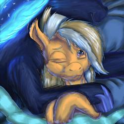 Size: 1584x1584 | Tagged: safe, artist:firefanatic, princess luna, oc, oc only, oc:safe haven, pony, :3, bed, blanket, cuddling, cute, glow, maternaluna, messy mane, pony pillow, smiling, snuggling