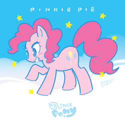 Size: 800x800 | Tagged: safe, artist:fkaori, pinkie pie, earth pony, pony, cute, diapinkes, female, mare, my little pony logo, no pupils, open mouth, solo, stars