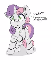 Size: 1737x2048 | Tagged: safe, artist:partylikeanartist, sweetie belle, pony, robot, robot pony, unicorn, cute, dialogue, diasweetes, female, open mouth, simple background, solo, sweetie bot, white background