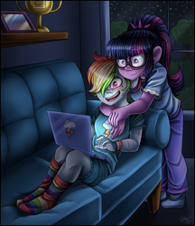 Size: 2500x2900 | Tagged: safe, artist:shimmer-shy, rainbow dash, sci-twi, twilight sparkle, equestria girls, art trade, bruised, clothes, computer, couch, cutie mark, duo, female, glasses, grass, hair over one eye, hug, laptop computer, lesbian, night, night sky, open mouth, pajamas, pants, rainbow socks, scitwidash, shipping, sky, smiling, socks, stars, striped socks, tree, trophy, twidash, window, wristband