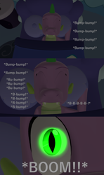 Size: 1920x3240   Tagged: safe, artist:papadragon69, spike, dragon, comic:spike's cyosa, 3d, bed, choose your own adventure, comic, glowing eyes, heartbeat, male, older, older spike, source filmmaker, teenage spike, teenager, uh oh, winged spike