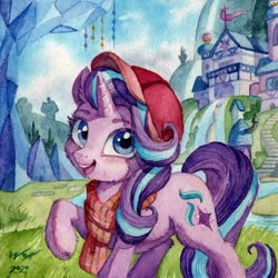 Size: 900x899 | Tagged: safe, artist:the-wizard-of-art, starlight glimmer, pony, unicorn, cap, cheek fluff, clothes, cute, cutie mark, female, glimmerbetes, hat, looking at you, mare, open mouth, raised hoof, scarf, scenery, school of friendship, solo, traditional art, twilight's castle, watercolor painting
