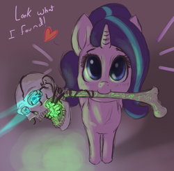 Size: 1450x1420 | Tagged: safe, artist:t72b, derpibooru exclusive, starlight glimmer, pony, unicorn, 2spooky, bone, cute, female, glimmerbetes, heart, looking at you, looking up, magic, magic staff, mare, mouth hold, skull, solo, staff, talking to viewer, what could possibly go wrong