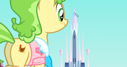 Size: 2048x1080 | Tagged: safe, chickadee, ms. peachbottom, rainbow dash, earth pony, pegasus, pony, butt, crystal empire, duo, female, flying, freckles, giant pony, giantess, macro, mare, plot, size difference