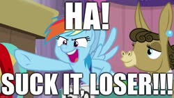 Size: 1280x720 | Tagged: safe, edit, edited screencap, screencap, matilda, rainbow dash, donkey, pegasus, pony, a trivial pursuit, spoiler:s09e16, caption, excessive exclamation marks, gloating, image macro, loser, meme, mocking, pointing, text