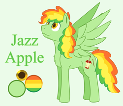Size: 1100x950 | Tagged: safe, artist:enigmadoodles, oc, oc only, oc:jazz apple, pegasus, ambiguous gender, magical lesbian spawn, offspring, parent:applejack, parent:rainbow dash, parents:appledash, ppny, solo