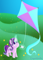 Size: 800x1100 | Tagged: safe, artist:enigmadoodles, starlight glimmer, pony, unicorn, cute, female, glimmerbetes, kite, looking up, magic, mare, smiling, solo, that pony sure does love kites