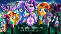 Size: 2015x1140 | Tagged: safe, artist:jphyperx, applejack, fizzlepop berrytwist, fluttershy, maud pie, pinkie pie, rainbow dash, rarity, spike, starlight glimmer, sunburst, sunset shimmer, tempest shadow, trixie, twilight sparkle, oc, alicorn, dragon, earth pony, pegasus, pony, unicorn, the last problem, canterlot, cover, cover art, fanfic art, jewelry, mane seven, mane six, mountain, pendant, princess twilight 2.0, twilight sparkle (alicorn), winged spike, zodiac sign