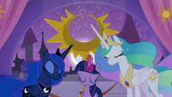 Size: 1920x1080 | Tagged: safe, screencap, princess celestia, princess luna, twilight sparkle, alicorn, pony, the summer sun setback, spoiler:s09e17, canterlot, crown, ethereal mane, ethereal tail, eyes closed, eyeshadow, female, festival of the two sisters, flowing mane, flowing tail, folded wings, glowing horn, horn, jewelry, magic, makeup, mare, moon, multicolored hair, multicolored tail, regalia, royal sisters, siblings, sisters, summer sun celebration, trio, twilight sparkle (alicorn), wings