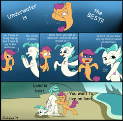 Size: 1641x1608 | Tagged: safe, artist:strebiskunk, scootaloo, terramar, classical hippogriff, hippogriff, pegasus, pony, seapony (g4), surf and/or turf, comic, comic sans, dialogue, female, filly, implied menstrual blood, implied ocean flow, joke, male, reality ensues, seaponified, seapony scootaloo, species swap, speech bubble, toilet humor, too much information, underwater