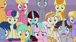 Size: 1920x1080 | Tagged: safe, screencap, blues, bon bon, caramel, carrot top, cloud kicker, golden harvest, jet set, lily, lily valley, noteworthy, royal riff, say cheese, sunshower raindrops, sweet biscuit, sweetie drops, tender brush, winter lotus, earth pony, pegasus, pony, unicorn, the summer sun setback, spoiler:s09e17, audience, background pony, background pony audience, canterlot, clothes, cookie, female, flower, flower in hair, food, frown, glasses, hoof hold, hoof on cheek, male, open mouth, raised hoof, sitting, wide eyes, worried