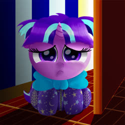 Size: 3072x3072 | Tagged: safe, artist:spellboundcanvas, starlight glimmer, pony, unicorn, bow, cute, daaaaaaaaaaaw, door, female, filly, filly starlight, footed sleeper, glimmerbetes, sad, scared, solo, younger