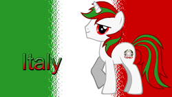 Size: 512x288   Tagged: safe, oc, oc only, pony, determined, flag, flag background, italy, looking at you, male, nation ponies, ponified, raised hoof, red eyes, solo