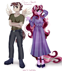 Size: 3426x3904 | Tagged: safe, artist:xjenn9, oc, oc only, oc:dalorance, oc:shapirlic, anthro, pegasus, plantigrade anthro, unicorn, blushing, clothes, commissioner:endbringer99, dalorlic, looking at each other, simple background, white background