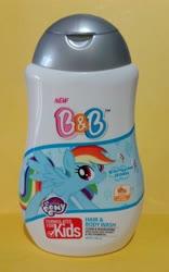 Size: 2084x3332 | Tagged: safe, rainbow dash, b&b, hair & body wash, indonesia, kids, my little pony logo