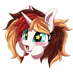Size: 1200x1200   Tagged: safe, artist:ask-colorsound, oc, oc only, oc:scarlet serenade, pony, unicorn, blushing, cute, emoticon, excited, female, feral, gasp, mare, simple background, solo, starry eyes, transparent background, wingding eyes