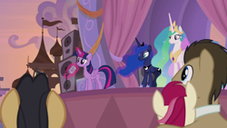 Size: 1920x1080 | Tagged: safe, screencap, cherry cola, cherry fizzy, doctor whooves, princess celestia, princess luna, roseluck, time turner, twilight sparkle, alicorn, earth pony, pony, the summer sun setback, spoiler:s09e17, aura, crown, cute, female, flowing mane, folded wings, frown, glowing horn, grin, horn, jewelry, levitation, looking up, magic, male, microphone, multicolored hair, regalia, shrunken pupils, smiling, speakers, stage, telekinesis, twiabetes, twilight sparkle (alicorn), wings