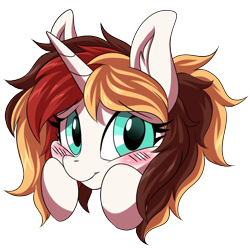 Size: 1200x1200 | Tagged: safe, artist:ask-colorsound, oc, oc only, oc:scarlet serenade, pony, unicorn, blushing, emoticon, female, flattered, head only, hooves on cheeks, mare, simple background, solo, transparent background