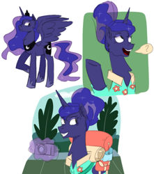 Size: 640x723 | Tagged: safe, artist:theuselessgarbage, princess luna, alicorn, pony, between dark and dawn, spoiler:s09e13, alternate hairstyle, camera, smiling, solo