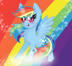 Size: 1032x954 | Tagged: safe, artist:sirena-flitter, rainbow dash, pegasus, pony, blushing, chest fluff, cute, dashabetes, determined, ear fluff, female, looking at you, open mouth, rainbow, rainbow background, smiling, smiling at you, solo, sparkles, spread wings, wings