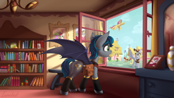 Size: 5760x3240 | Tagged: safe, artist:lunebat, daisy, derpy hooves, flitter, flower wishes, lily, lily valley, roseluck, oc, bat pony, pegasus, pony, fanfic:fine print, absurd resolution, bag, bat pony oc, bat wings, book, bookshelf, detailed, fanfic art, fimfiction, human to pony, male, ponyville, saddle bag, scenery, scenery porn, stallion, story in the source, window, wings