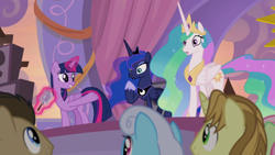 Size: 1920x1080 | Tagged: safe, screencap, doctor whooves, golden crust, linky, princess celestia, princess luna, shoeshine, time turner, twilight sparkle, alicorn, earth pony, pony, unicorn, the summer sun setback, announcement, crowd, crown, ethereal mane, ethereal tail, female, festival of the two sisters, flowing mane, flowing tail, folded wings, glowing horn, grin, hoof shoes, horn, jewelry, levitation, magic, magic aura, male, mare, microphone, multicolored mane, multicolored tail, open mouth, pointing, raised hoof, regalia, royal sisters, siblings, sisters, smiling, speakers, speech, stage, stallion, sunrise, surprised, telekinesis, twilight sparkle (alicorn), wide eyes