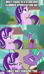 Size: 500x843 | Tagged: safe, edit, edited screencap, screencap, firelight, starlight glimmer, the parent map, a challenger appears, caption, comic, duo, father and child, father and daughter, female, image macro, male, screencap comic, squishy cheeks, text