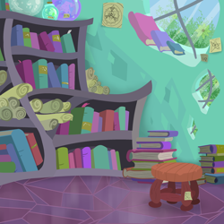 Size: 3000x3000 | Tagged: safe, artist:skunk bunk, book, bookmark, bookshelf, crystal, crystal empire, flower, home, house, no pony, potion, scroll, sticky note, stool, sunburst's house, window