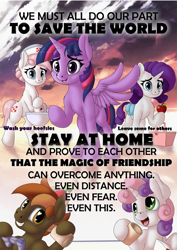 Size: 1000x1415 | Tagged: safe, artist:manifest harmony, button mash, nurse redheart, rarity, sweetie belle, twilight sparkle, alicorn, series:save the world, apple, buttonbetes, coronavirus, cute, diasweetes, food, heart eyes, heart nostrils, positive ponies, public service announcement, tin can telephone, twilight sparkle (alicorn), wingding eyes