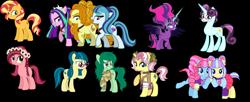 Size: 5344x2184 | Tagged: artist needed, safe, adagio dazzle, aria blaze, gloriosa daisy, juniper montage, kiwi lollipop, principal abacus cinch, sonata dusk, sunset shimmer, supernova zap, twilight sparkle, vignette valencia, wallflower blush, pony, equestria girls, antagonist, black background, compilation, equestria girls ponified, k-lo, midnight sparkle, ponified, postcrush, simple background, su-z, the dazzlings