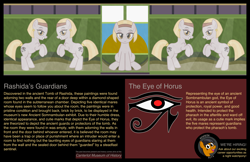 Size: 3502x2275 | Tagged: safe, artist:badumsquish, derpibooru exclusive, oc, oc only, oc:mewseum, earth pony, living hieroglyph, monster pony, original species, pony, sphinx, ancient egypt, bedroom eyes, bricks, brochure, canterlot, ear piercing, earring, egyptian, egyptian pony, exhibit, eye of horus, eyeshadow, fangs, female, five nights at freddy's, grin, headband, hieroglyphics, jewelry, looking at you, makeup, mare, mascot, museum, painting, parody, part of a set, piercing, show accurate, smiling, solo, sphinx oc, tail wrap, text, trap (device), wall