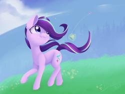 Size: 1512x1142 | Tagged: safe, artist:dusthiel, starlight glimmer, pony, unicorn, cloud, cute, ear fluff, female, glimmerbetes, kite, kite flying, leg fluff, magic, mare, sky, solo, telekinesis, that pony sure does love kites